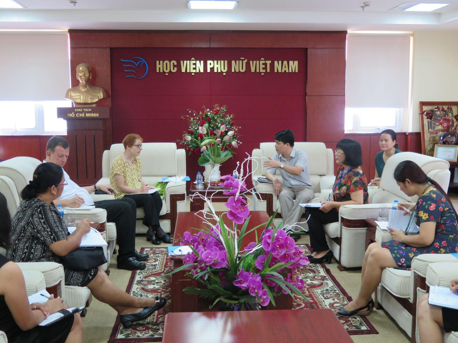 Học viện Phụ nữ Việt Nam làm việc với lãnh đạo tổ chức SBFIC và tổ chức CARD MRI