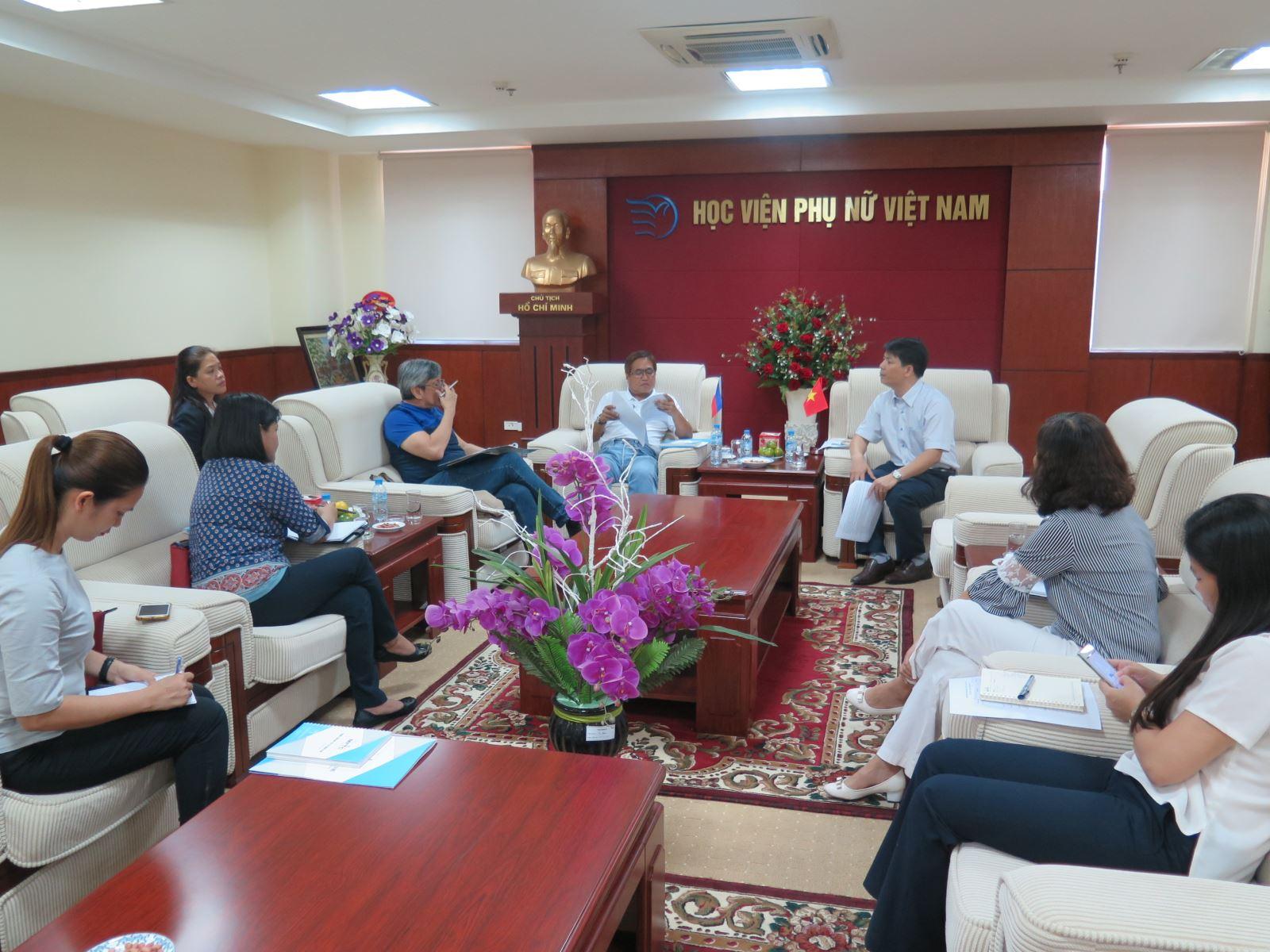 Học viện Phụ nữ Việt Nam đón tiếp đoàn đại biểu tổ chức CARD MRI, Philippines