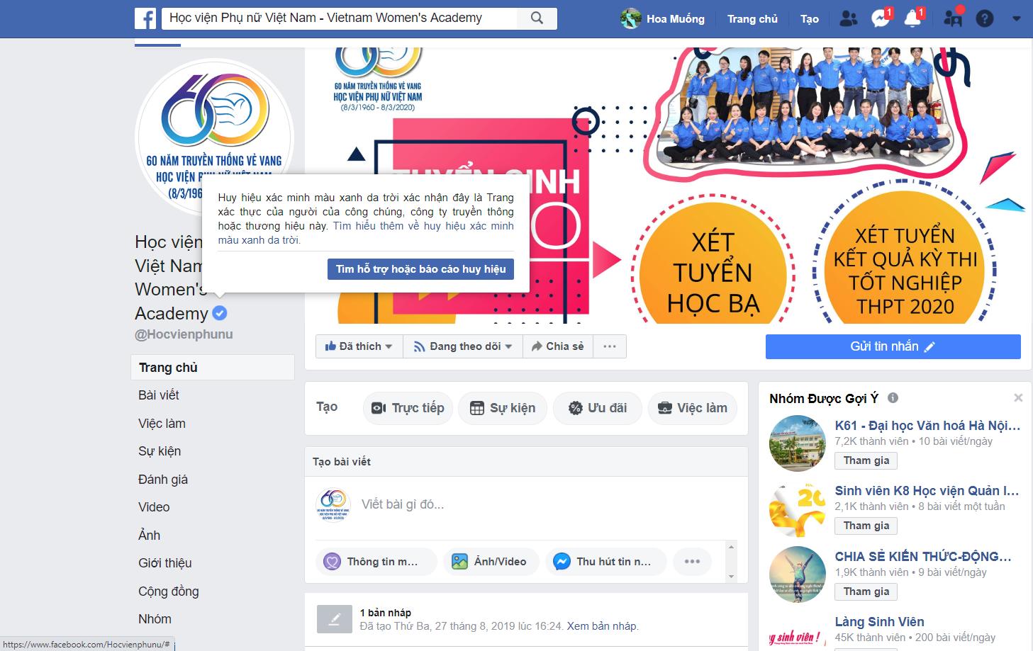 Facebook cấp tick xanh Fanpage Học viện Phụ nữ Việt Nam