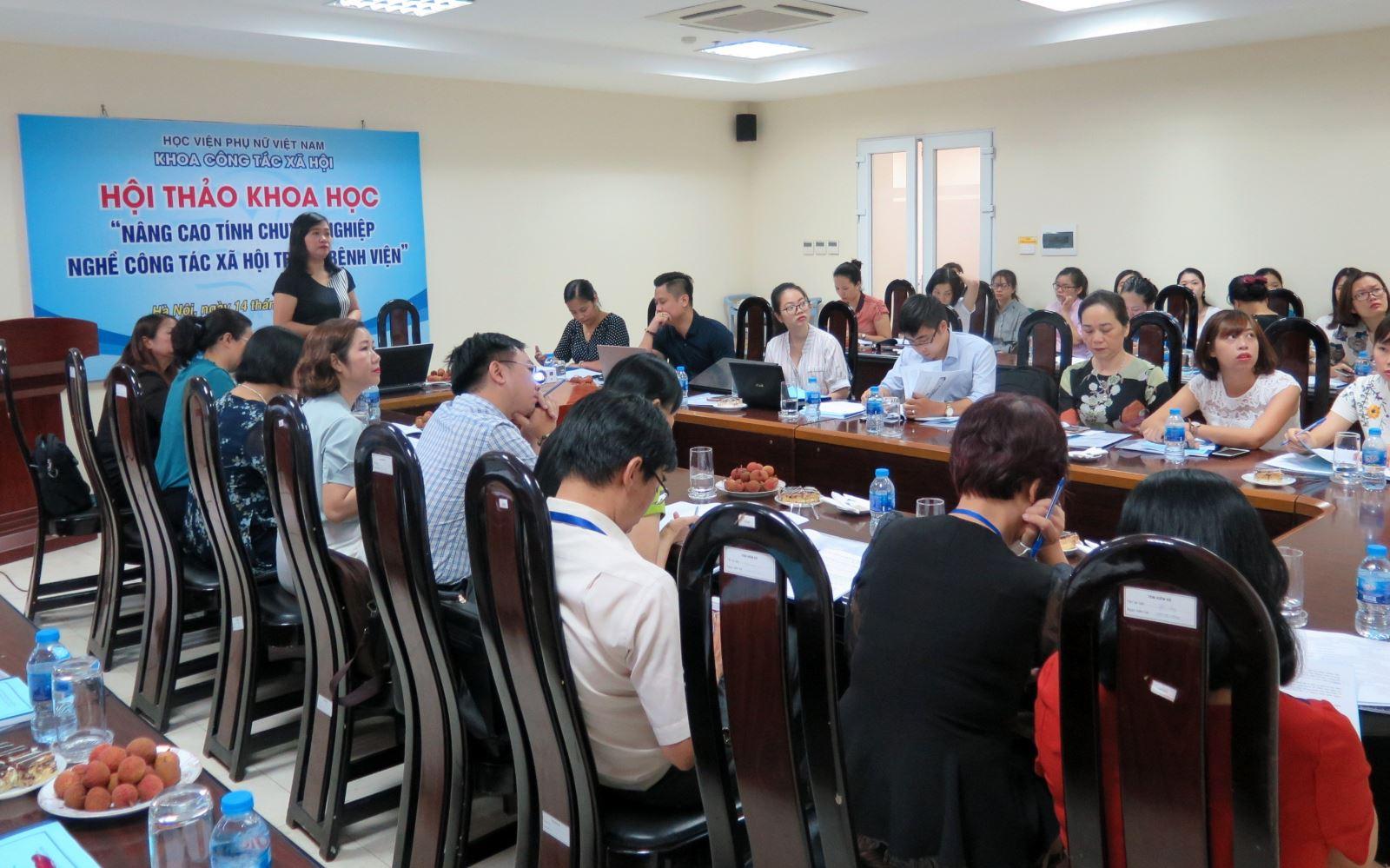 """Học viện Phụ nữ Việt Nam tổ chức Hội thảo khoa học:  """"Nâng cao tính chuyên nghiệp nghề Công tác xã hội trong bệnh viện"""""""