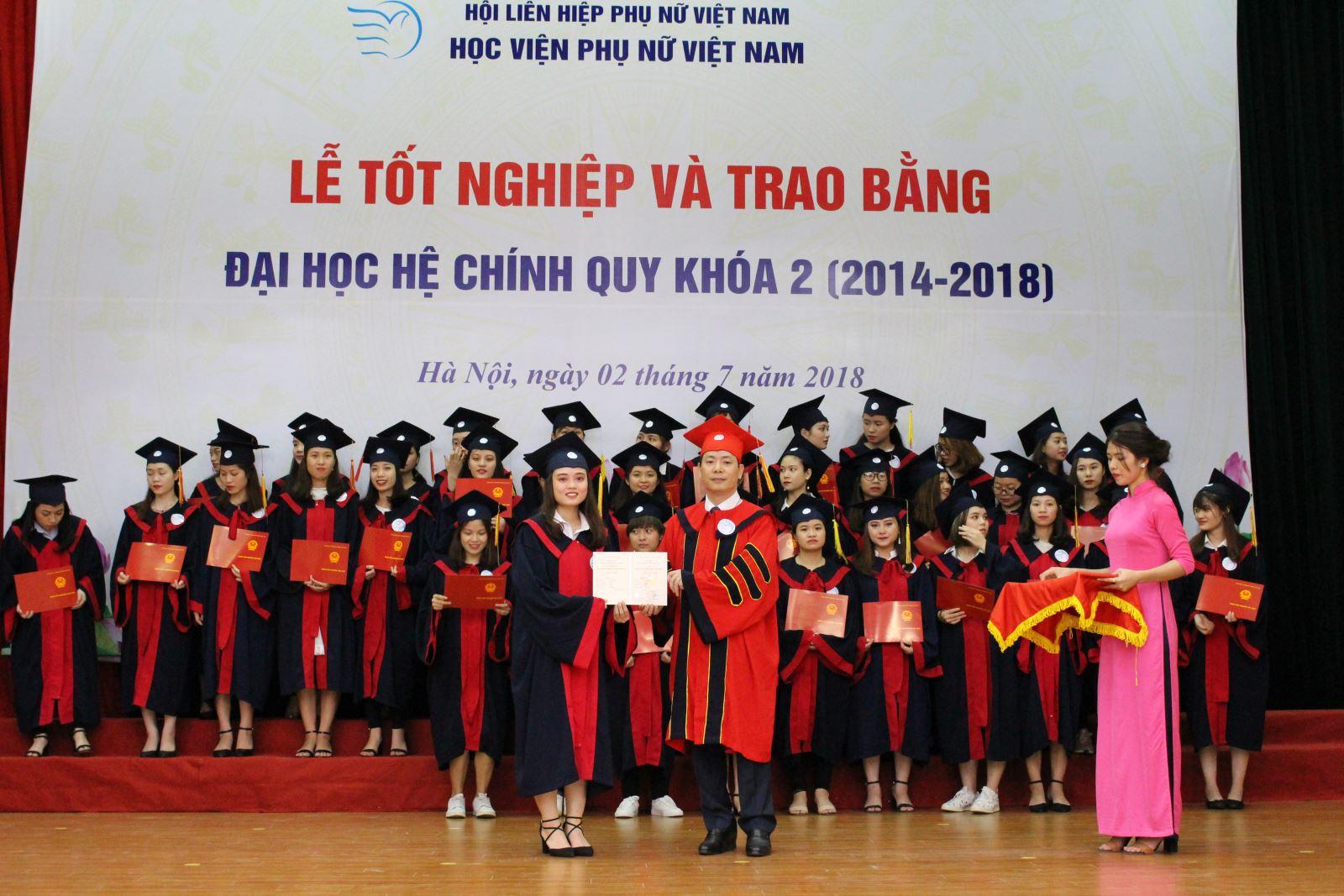 Học viện Phụ nữ Việt Nam trao bằng cử nhân cho sinh viên khóa 2