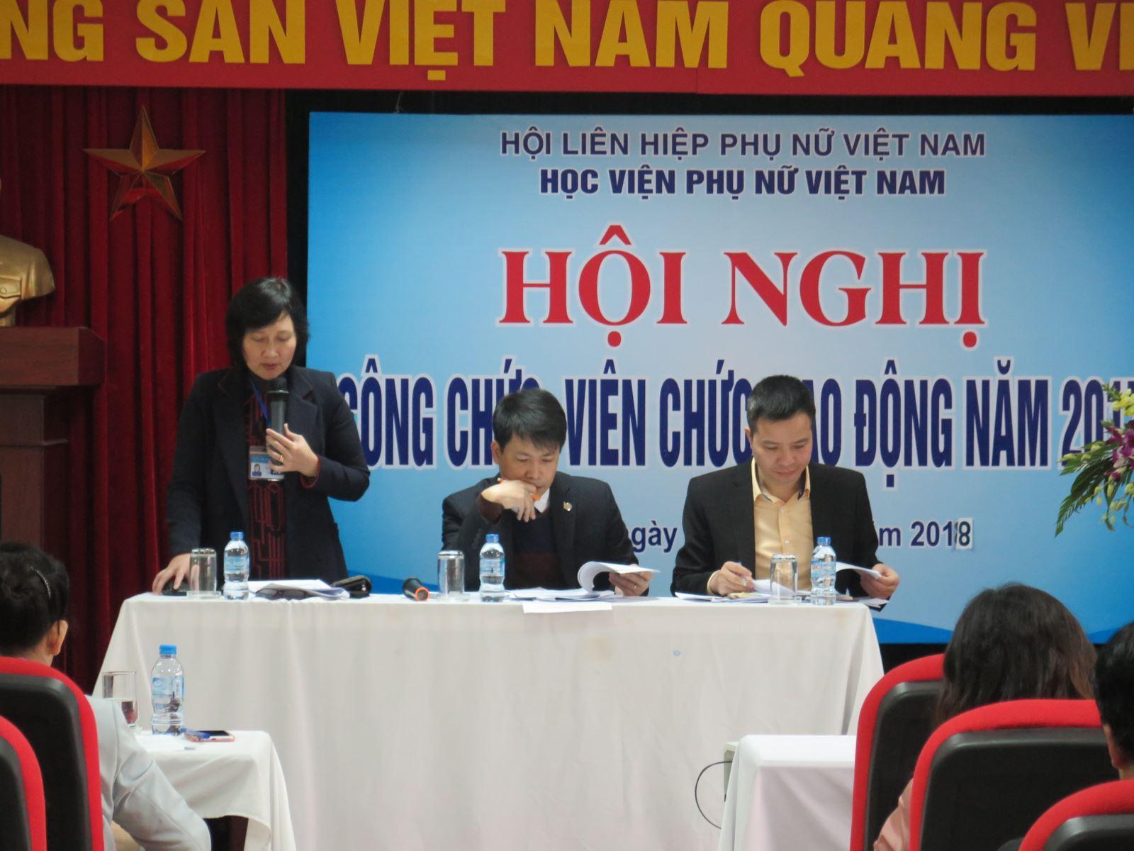 Học viện Phụ nữ Việt Nam tổ chức Hội nghị công chức, viên chức, người lao động năm 2017