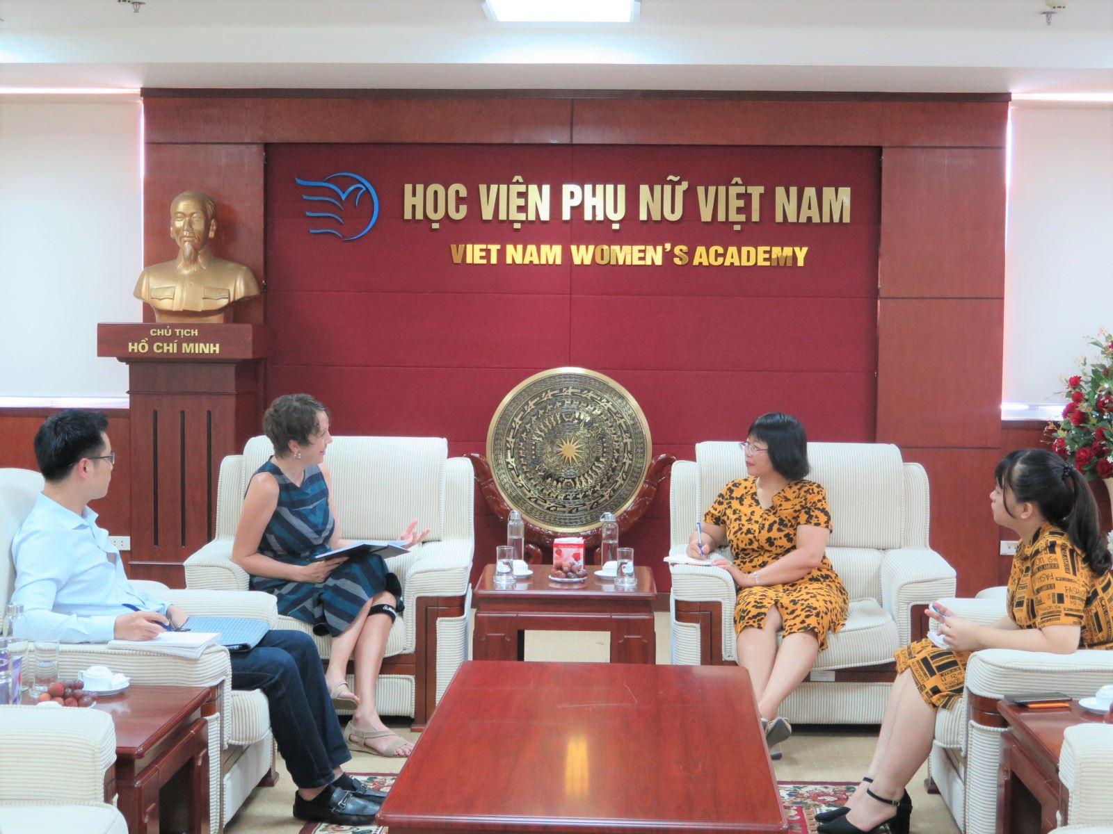 Học viện Phụ nữ Việt Nam làm việc với đại diện Chương trình Quốc gia Solidarity Center, AFL - CIO