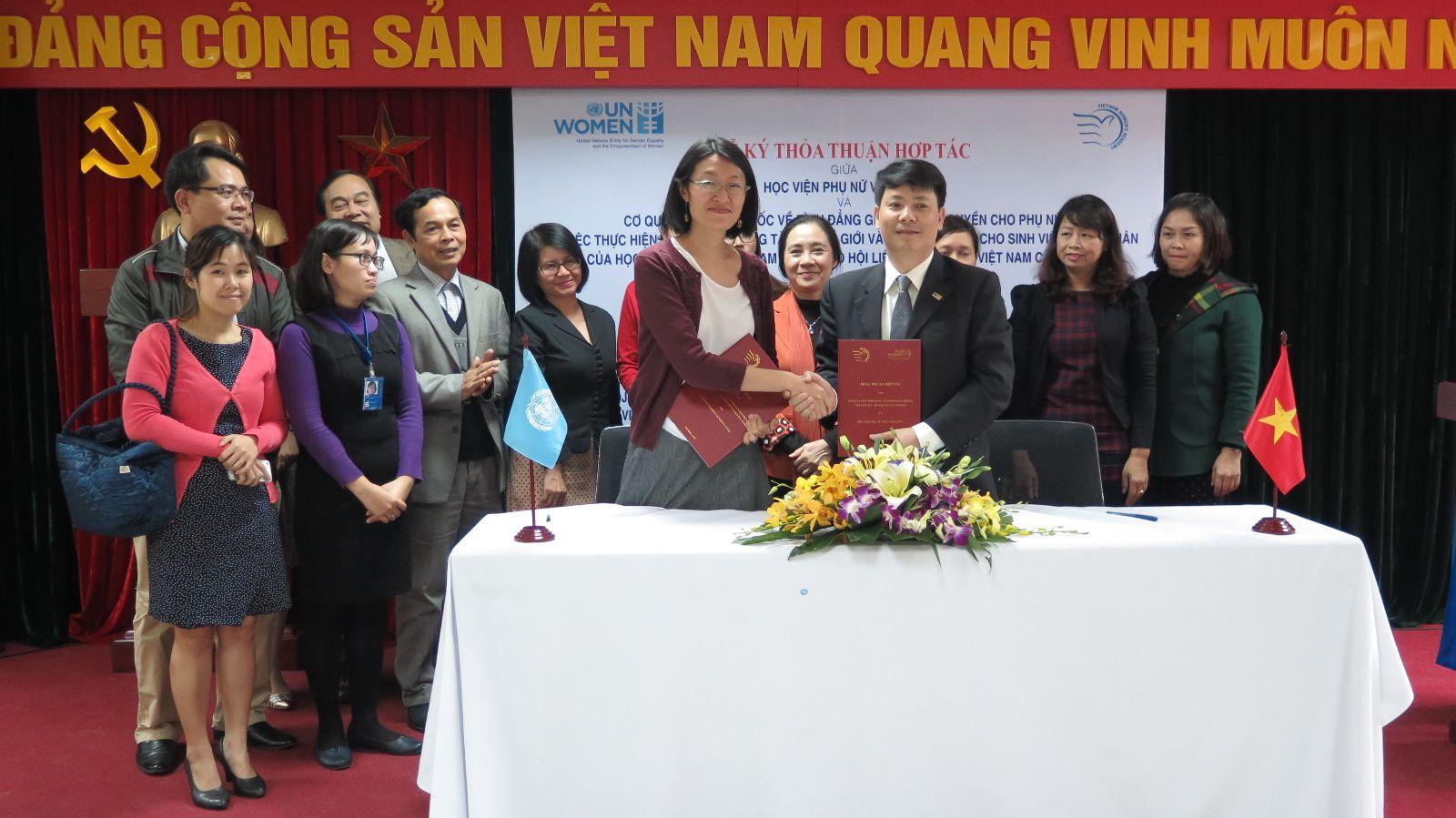 Lễ lễ ký kết thỏa thuận hợp tác giữa Học viện Phụ nữ Việt Nam và UN WOMEN