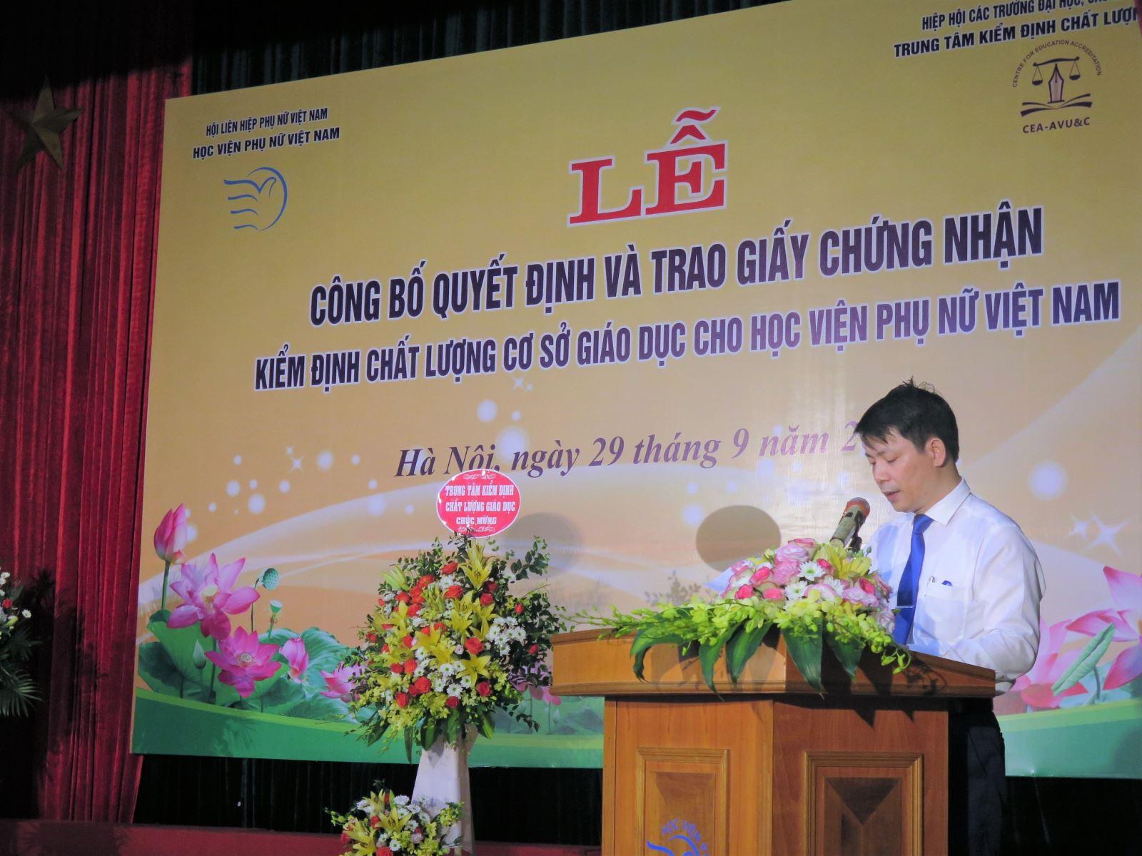 Phát biểu khai mạc Lễ Công bố quyết định và trao chứng nhận kiểm định chất lượng cơ sở giáo dục