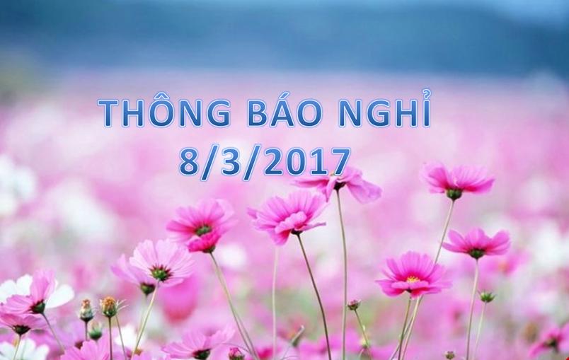 Thông báo lịch nghỉ 8/3/2017 đối với sinh viên
